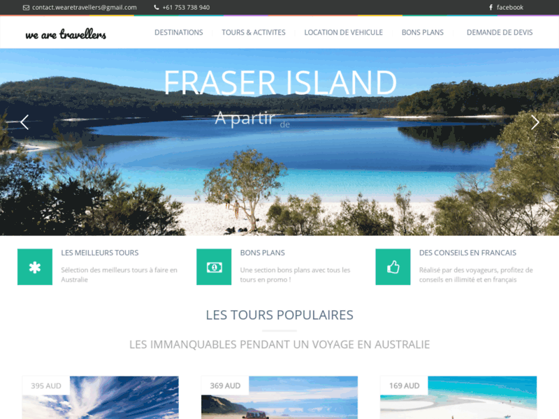 Screenshot du site : We are travellers Australie Melbourne Tours