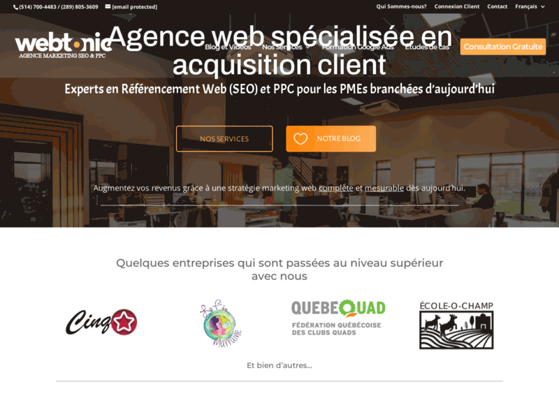 Screenshot du site : Web Tonic - Agence Marketing SEO et PPC Mont-Royal